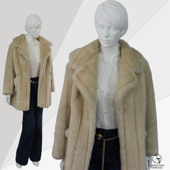 70s Faux Fur Coat, 70s Faux Fur Jacket, Cream Faux