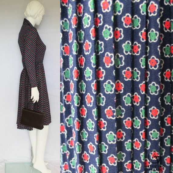 70s Floral Print Dress, Secretary Long Sleeved Dre