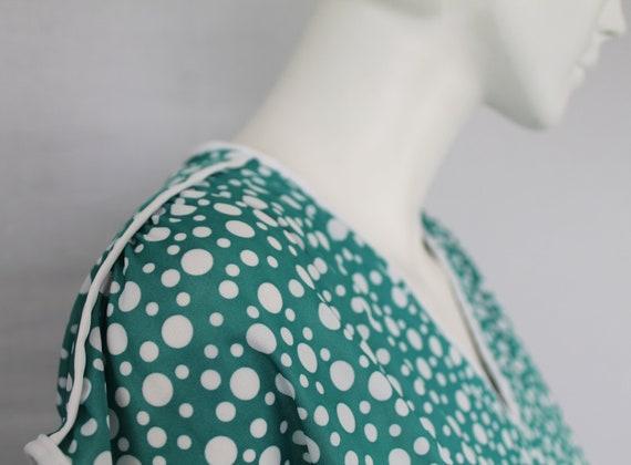 Aquamarine 80s Dress, Dotty Green Print Dress, Gr… - image 3