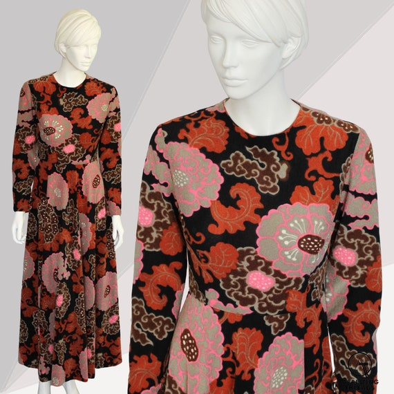 60s Flower Power Long Dress, Brown Pink 60s Vintag
