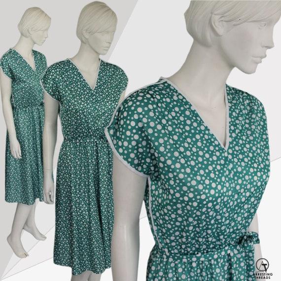 Aquamarine 80s Dress, Dotty Green Print Dress, Gr… - image 10