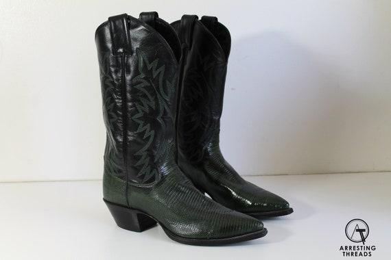Vintage Cowboy Boots, Green Black 70s Cowboy Boots