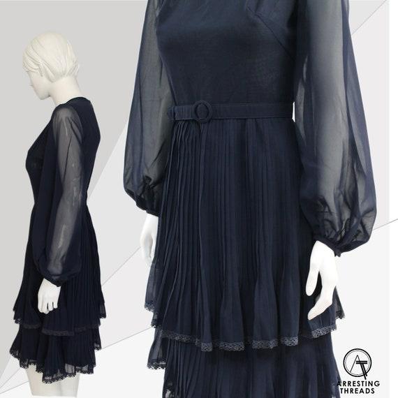 60s Dress, Mod Blue Pleated Dress, Balloon Sleeves