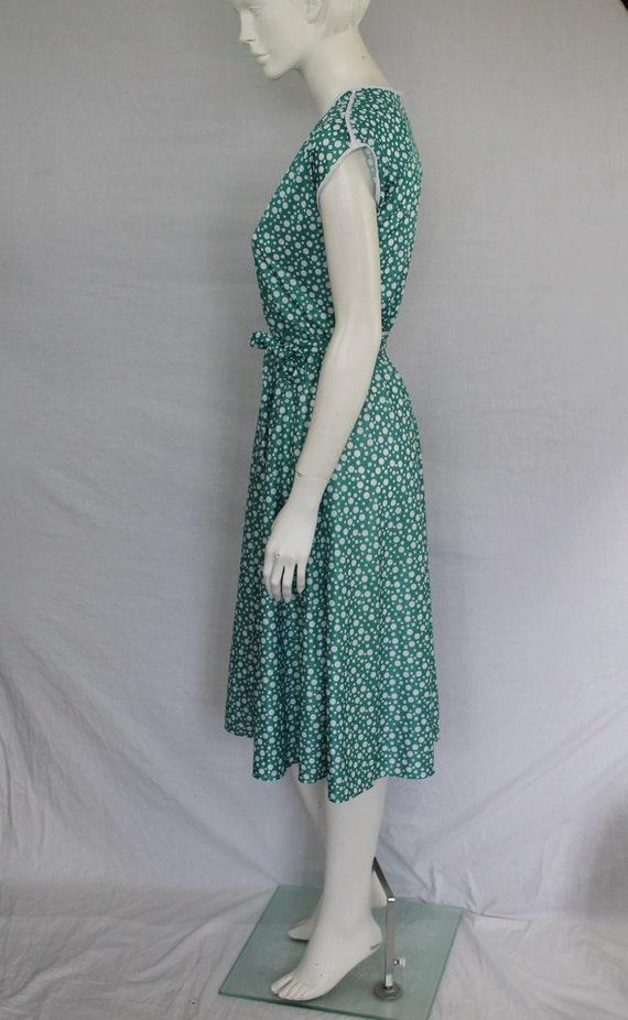 Aquamarine 80s Dress, Dotty Green Print Dress, Gr… - image 8