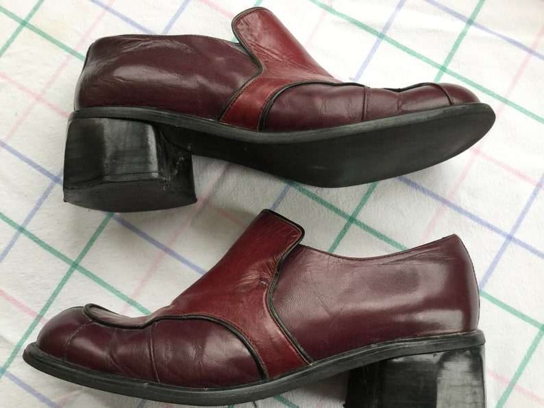 US 8 Burgundy loafers* U.K 6 EU 39 by Shelly\u2019s of London two tone red