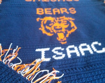 Chicago Bears Afghan LOGO Only
