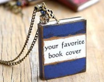 Personalized gift Custom book cover necklace Personalized jewelry Book charm Custom book pendant Writers gift Book lover gift Bookworms gift