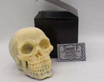 Anatomically Correct Chocolate Skull- Hand-made in Milk and White Belgian Chocolate birthday, wedding, engagement cake topper
