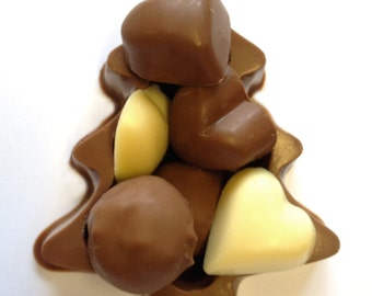 chocolate Christmas Tree Box filled with Prosecco Truffles, Praline Hearts and solid white chocolate hearts