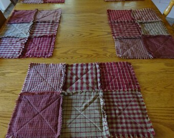 Red Homespun Placemats, 6 Rag Quilt Placemats, Table Mats, Rag Patchwork Placemats, Rustic Placemats, Primitive Table, Set of 6  Placemats
