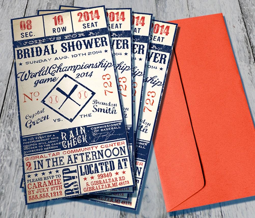Vintage Baseball Themed Bridal Shower Invitation Digital