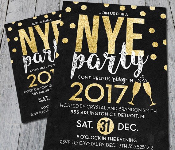 new years eve party invitation digital etsy