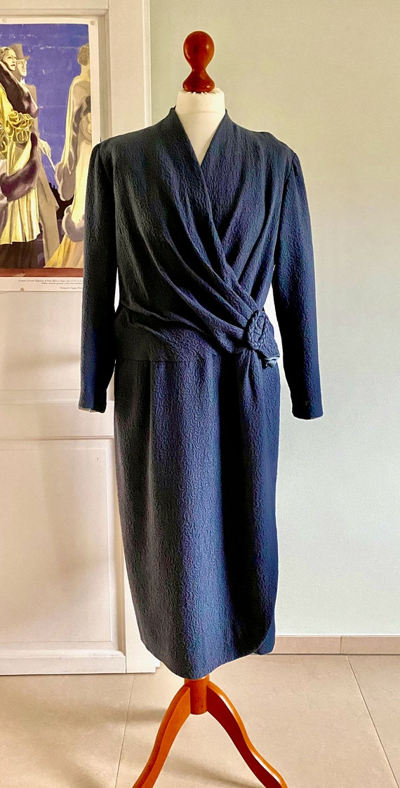 Orginal Vintage Dress Blue Crepes 30s 40s Sunday D