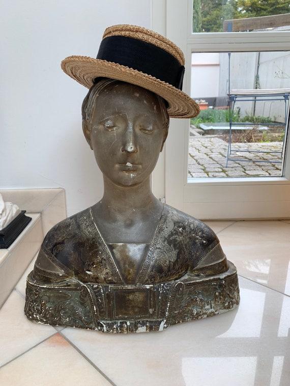 French Straw Hat, Canotier, Original Vintage, '30s