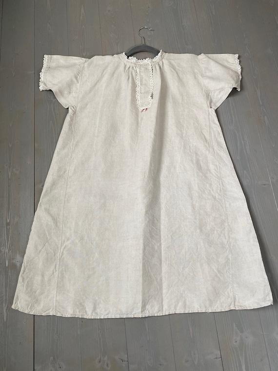 Uromas nightgown, antique linen dress, linen shirt