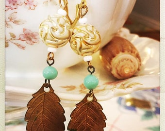Sweet boho leaf and vintage dangle bead earrings