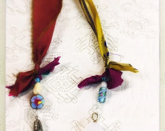 Colorful beaded bookmark - wooden painted hibiscus bead