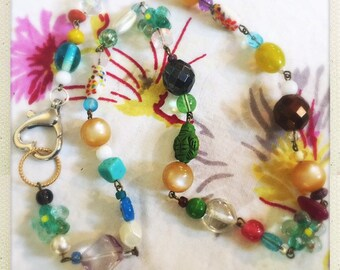 Colorful glass bead fun boho necklace