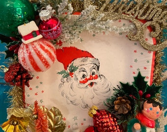 Vintage kitsch Santa Christmas wall hanging