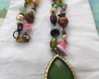 Awesome Boho beaded necklace with vintage green teardrop salvaged pendant