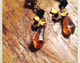 The bees knees! Amber drops, bee charms and czech glass drop earrings