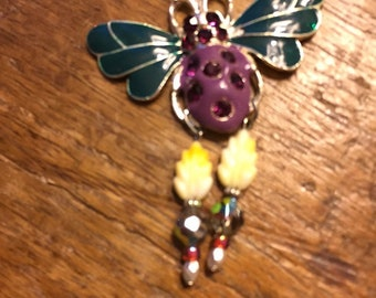 Altered colorful bumble bee necklace