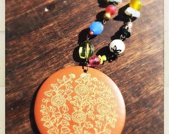 Super fun Boho beaded wooden pendant necklace