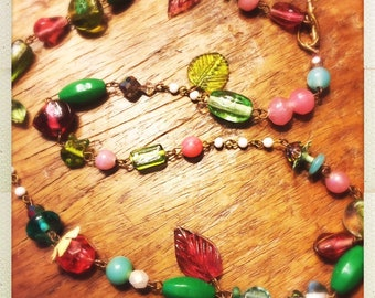 Sweet glass beaded necklace - pinks and greens and leaves
