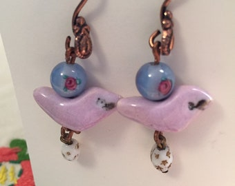 Sweet periwinkle and lavender ceramic handmade bird earrings with vintage beads
