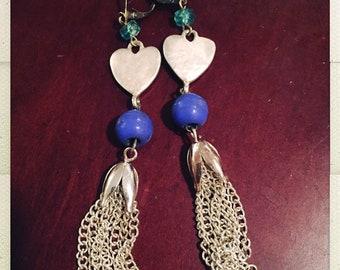 Old, new, broken, blue tassel earrings