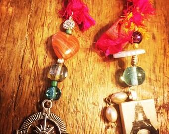 Handmade beaded bookmark book thong, compass charm, sari ribbon, czech beads, heart bead, Eiffel Tower pendant, vintage pearl jewelry, cute!
