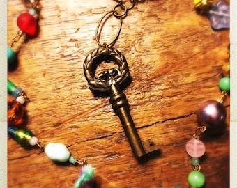 Colorful boho key pendant necklace vintage & new glass beads