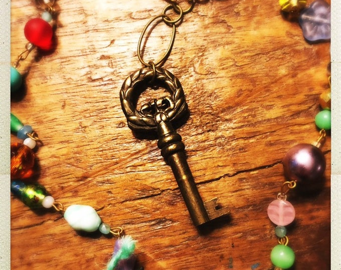 Featured listing image: Colorful boho key pendant necklace vintage & new glass beads