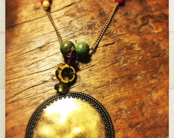 Super fun pendant necklace - upcycled beads and bits perfect boho vibe