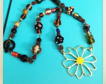 Sassy sunflower India glass bead necklace ready for a new home.