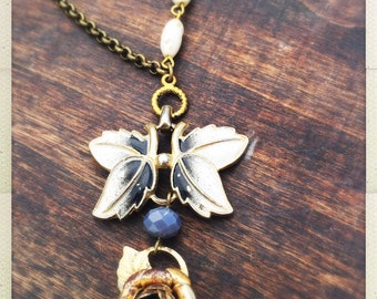 Salvaged gold rose and vintage bracelet long pendant necklace
