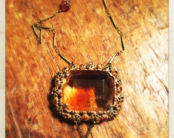 Evil Descendants: Murietta, Georgia gorgeous amber colored brooch and rose pin salvaged long pendant necklace