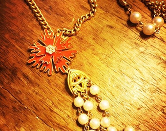 Vintage pendant chain necklace - orange flower burst and pearl steands