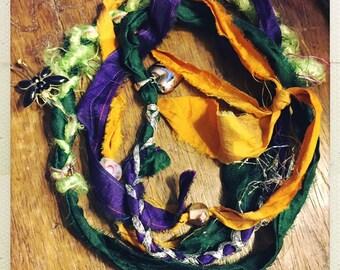 Mardi Gras wrap bracelet - Fair Trade sari ribbon.