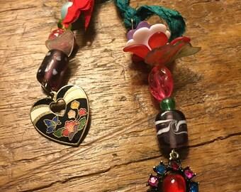 Sweet cloisonné charm & vintage bead bookmark