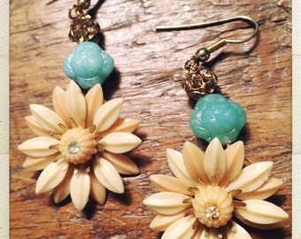 You're a daisy if you do sweet repurposed vintage boho earrings