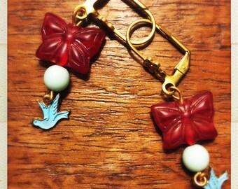 Red Butterflies and bluebirds dainty drop earrings