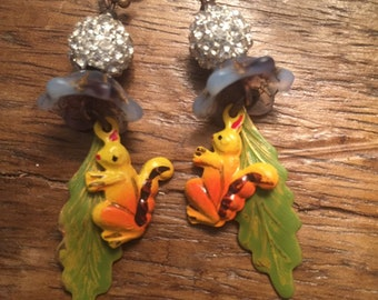 Fancy squirrel earrings with rhinestone beads