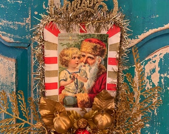 Old World Santa & tiny tot vintage Christmas decoration.