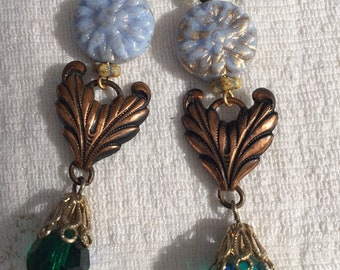 Absolutely lovely earrings made using rescued vintage jewelry pieces found in my travels.