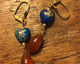 Adorable unique vintage blue enamel heart earrings with amber drop beads