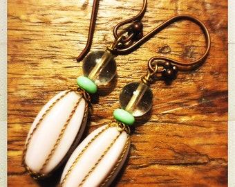 Repurposed vintage lavender gold bead drop earrings