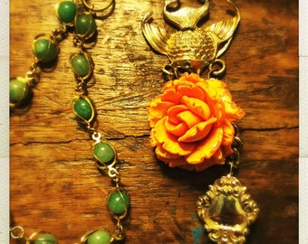Coral Rose long pendant necklace with vintage Jade beaded chain, gold fish and a drop pearl accent