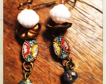Vintage Italian mosaic salvaged drop earrings