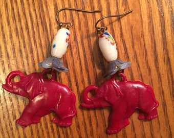 Red elephant circus earrings with vintage Japan glass beads